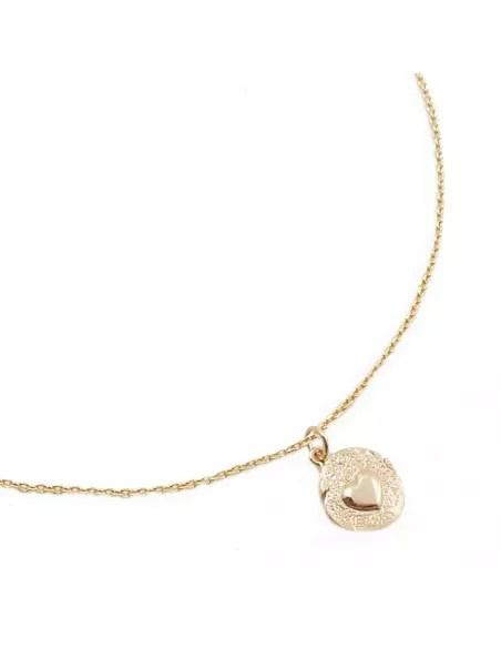 collier chaine 45cm et medaille ronde coeur en relief