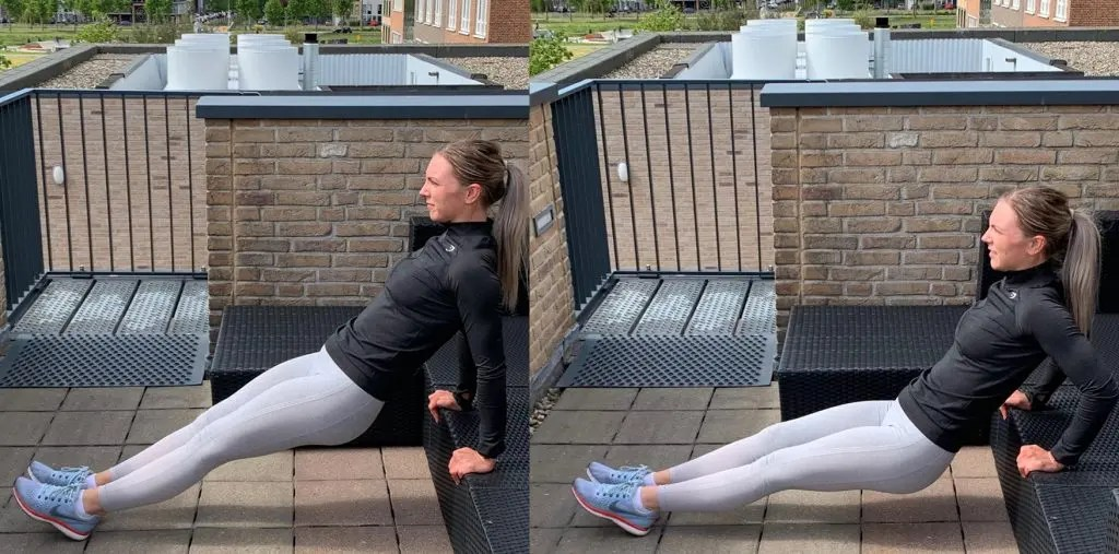 Tricep dip, work-out voor thuis