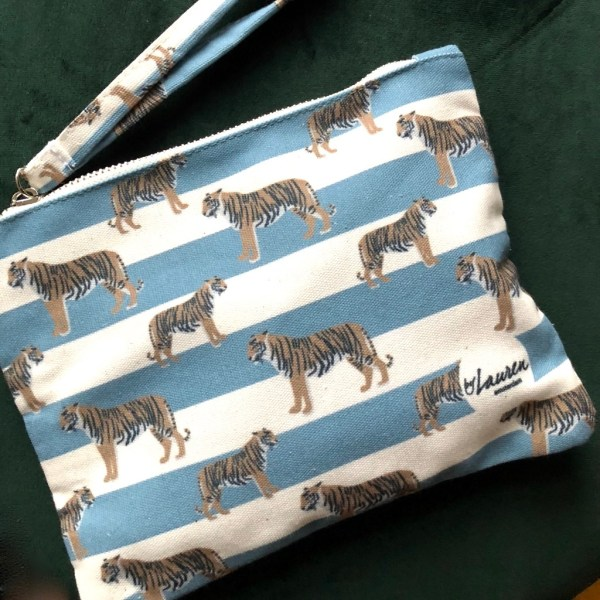 tigers & stripes bluish grey clutch small