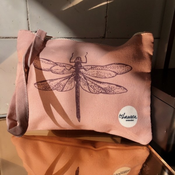dragonfly roze clutch small libelle