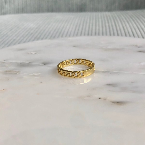 chunky chain ring goud schakelring