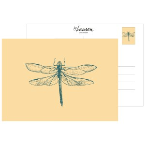 postcard hi dragonfly sunny yellow
