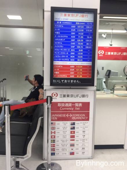 Tỷ giá đổi tiền Yên Nhật ở sân bay Narita Terminal 2