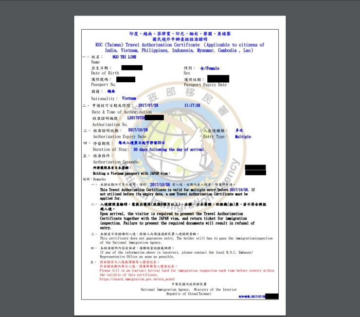 xin Visa Đài Loan online