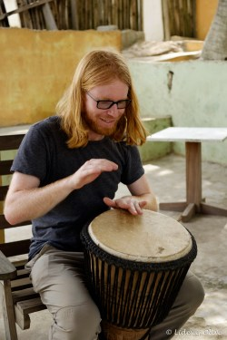 playing djembe in Cape coast, Ghana with global mamma's