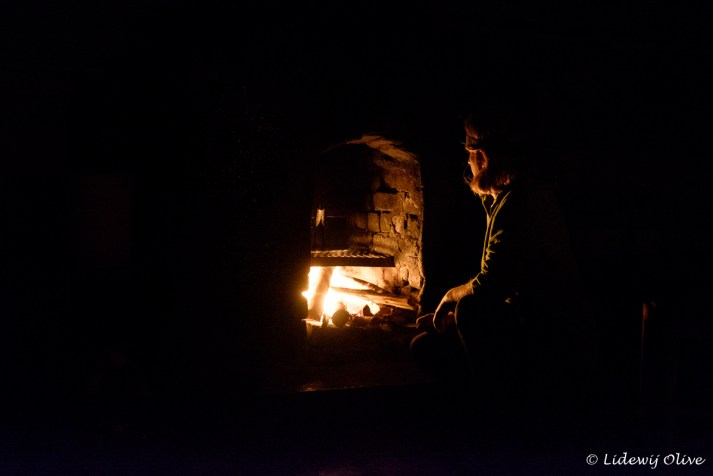 Cooking on fire in the Chembe hut in Mount Mulanje