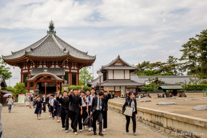 Nara temple and schoolkids