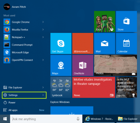 How to Create User Accounts in Windows 10 - Navigate to Settings