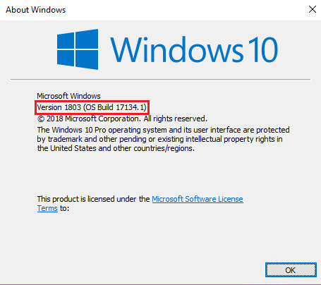 version 1803 How to check which version of Windows 10 installed
