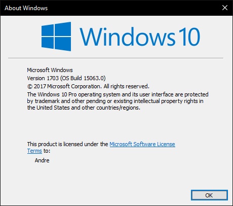 version 1703 How to check which version of Windows 10 installed
