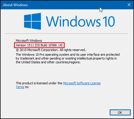 Version 1511 - How to check which version of Windows 10 installed