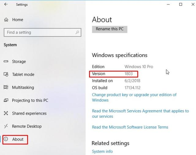 version 1803 - How to check which version of Windows 10 installed