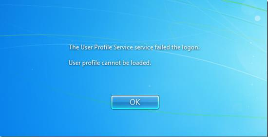 The User Profile Service failed the logon User profile cannot be loaded