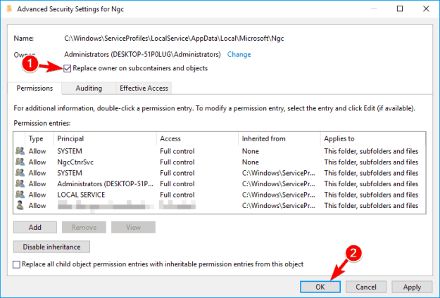 Windows 10 cannot add PIN - Your PIN is no longer available message on Windows 10