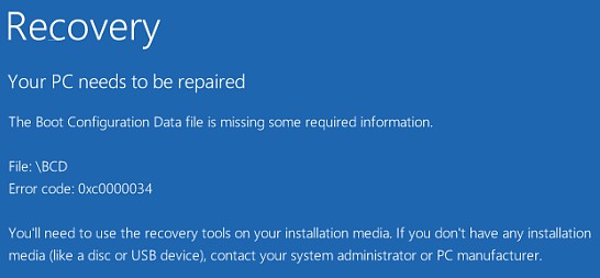 bad system config info blue screen / The Boot Configuration Data file is missing error on Windows 10