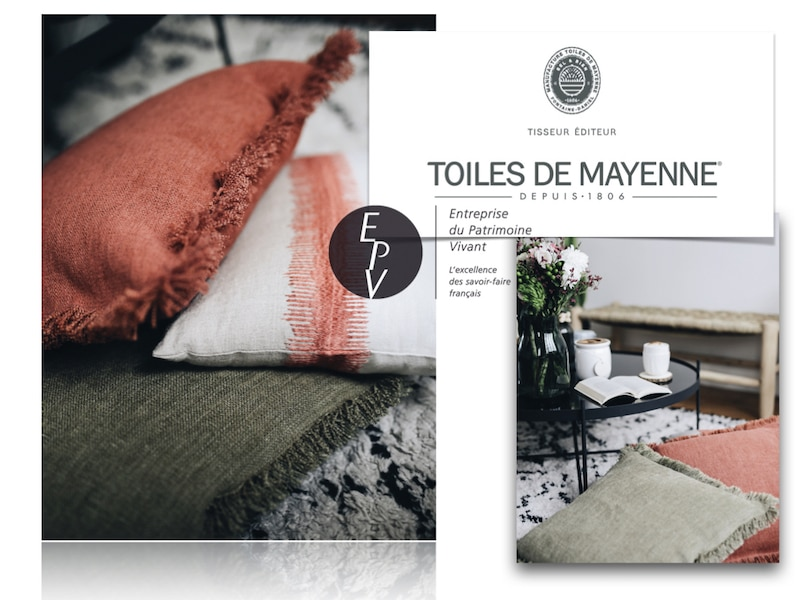 Après-midi cocooning d'automne coussins Toiles de Mayenne made in France