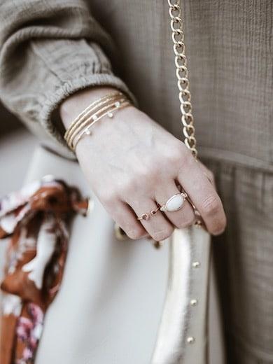 Look femme bagues Perles d'Au blog mode France Lyon By Opaline