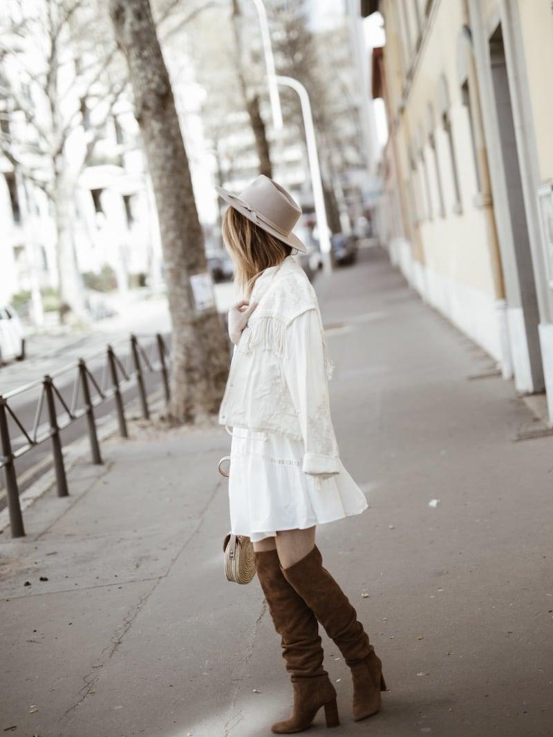Look femme bohème printemps veste franges blog mode Lyon France By Opaline