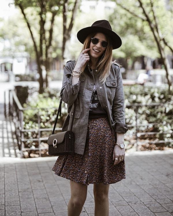 Look jupe fleurie rock blog mode France Lyon By Opaline