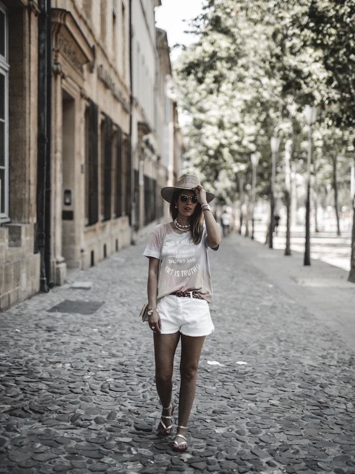 Look femme été 2019 tee-shirt arc-en-ciel Zadig & Voltaire short Ba&sh blog mode France Lyon By Opaline