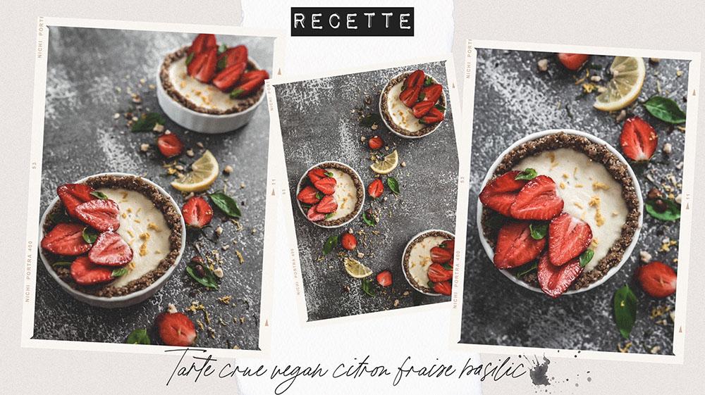 Tarte crue vegan citron fraise basilic