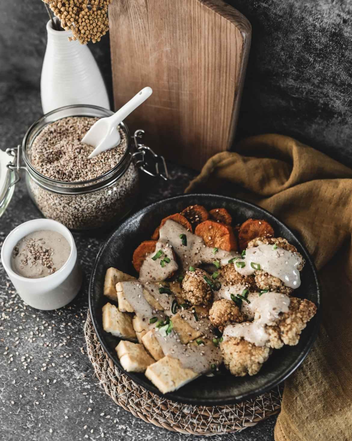 Recette légumes rôtis et tofu sauce sésame