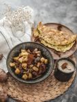 Recette végétarienne topinambours, girolles et pommes caramélisées au sirop d'érable