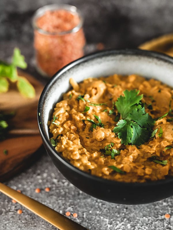 Recette vegan dahl lentilles corail, plat indien