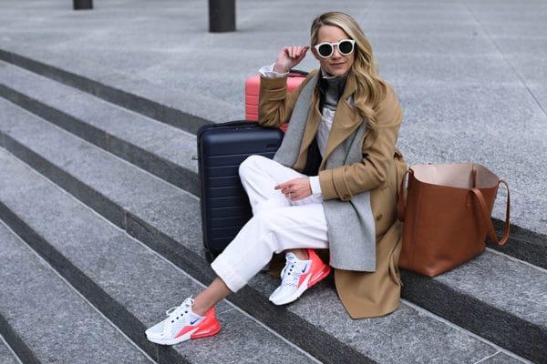 Look blanc et beige baskets Nike Air Max 270 Atlantic Pacific