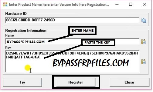 Paste the key to Z3x Samsung Tool Pro with Loader