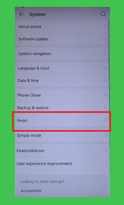 Reset on settings huawei honor devices