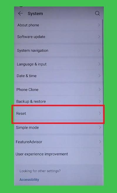 Reset on settings huawei to huawei honor frp bypass/unlock