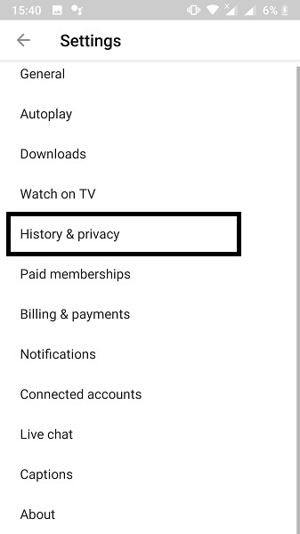 tap on history & privacy to frp unlock all lg, myphone