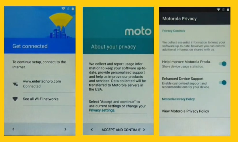 Click on Privacy Settings to Moto FRP Bypasss /Unlock