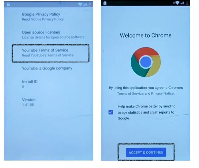 Access Chrome and download frp bypass apk
