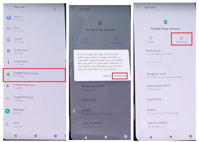 Disable Google play Services to Bypass Vivo Unlock FRP Google Account