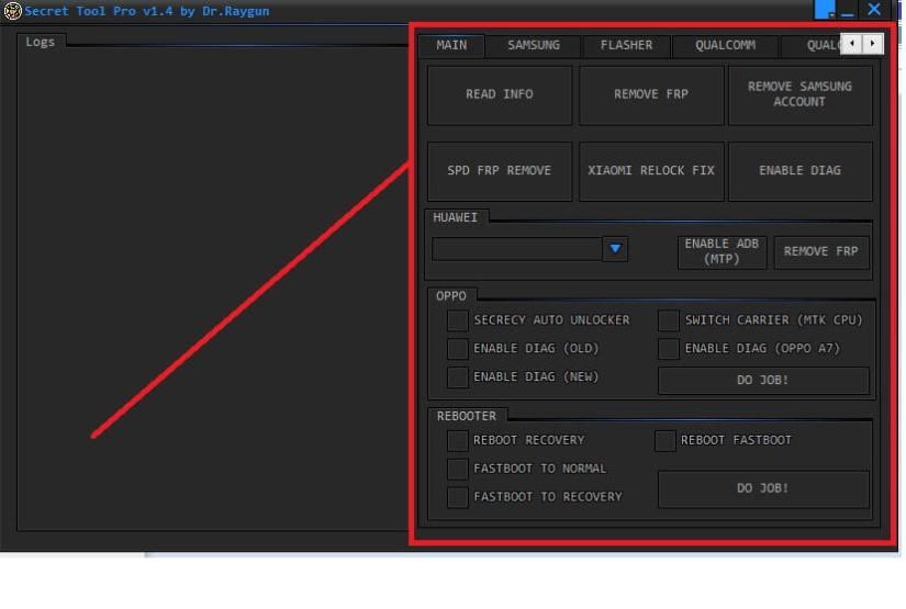Main Functions Secret FRP Tool Pro Free