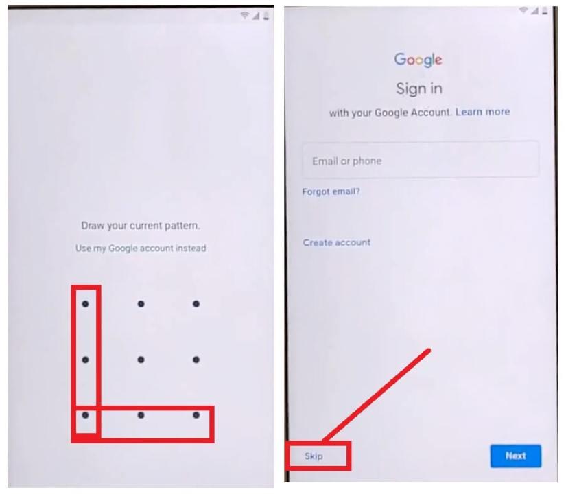 Draw Pattern lock to bypass unlock FRP Google account Samsung