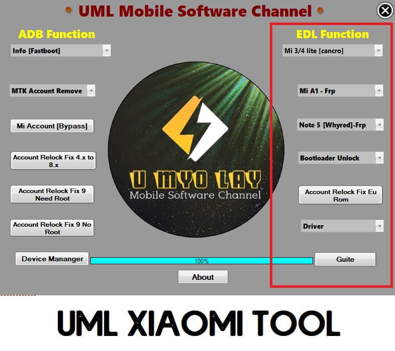 UML Xiaomi FRP MI Account Remove Tool Fixer Relock Tool EDL