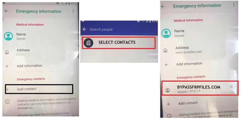 Select Contacts to HTC Android 9 FRP Bypass Unlock Google Account Verification