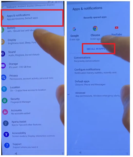 Select Apps & Notifications to Sony Android 11 FRP Bypass Unlock Google Account Verification