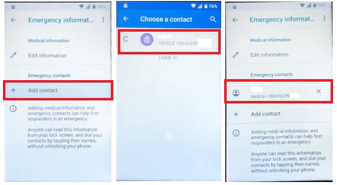 Select Contact to ZTE Android 9.0 FRP Bypass Unlock Google Gmail lock