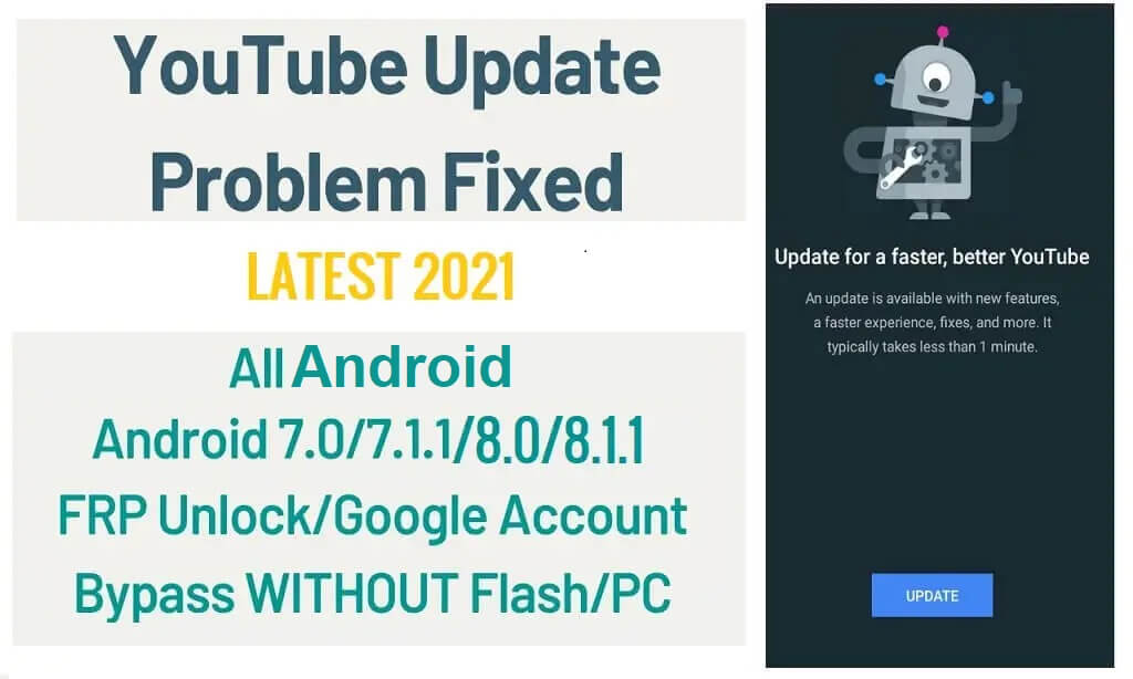 How to Bypass YouTube Update Screen on Android FRP Latest 2021 method