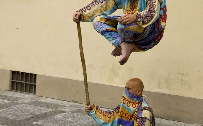 """""""Street Performers Levitating In Prague"""" from Godot13 licensed under CC 3.0"""
