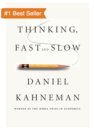 "The cover of the book titled ""Thinking Fast and Slow"" by Daniel Kahneman."