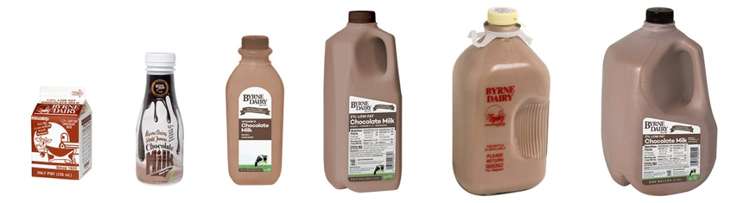Byrne Dairy Chocolate Milk is Available in a Variety of Sizes - Chocolate Milk