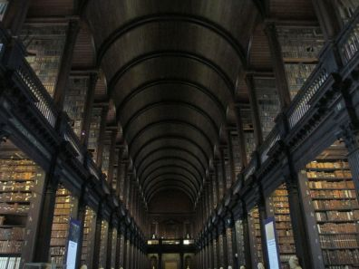 The Long Room of the Old Library houses 200,000 of the oldest books in its oak bookcases.