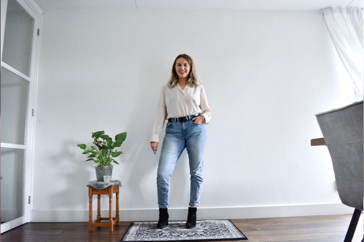 tweedehands crème oversized blouse