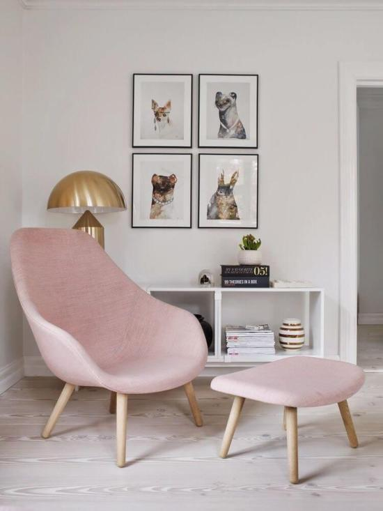 pink arm chair and stool