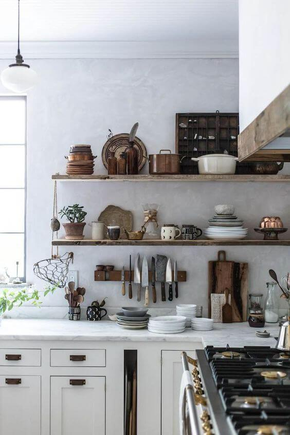 country kitchen with open shelves